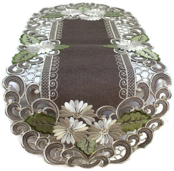 Doily Boutique Table Runner Doily Mantel Scarf with Daisies on Brown Burlap