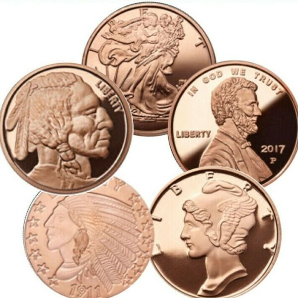 Lot of 5 1 oz Copper Rounds 5 Different Design Starter Pack