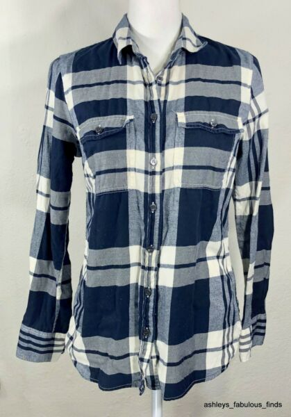 J. Crew Flannel Shirt in Perfect Fit Button Up Long Sleeve Plaid Navy Blue Small