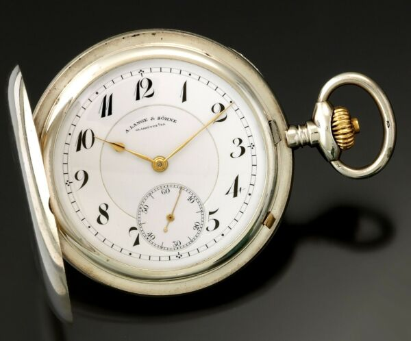 PREMIUM QUALITY STERLING SILVER A. LANGE & SOHNE POCKET WATCH  19 JEWELS WDIAM