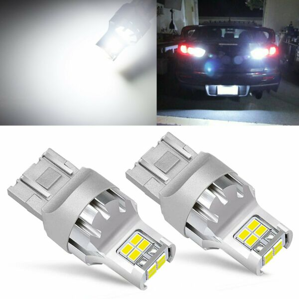 2x 7443 7440 6000K White 3020 SMD LED for Reverse Backup light Replacement Bulbs