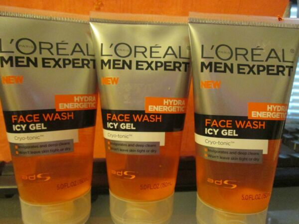 3 New L'OREAL MEN EXPERT HYDRA ENERGETIC ICY GEL FACE WASH 5 FL OZ EACH