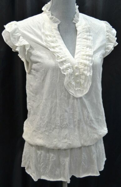 ARDEN B long peplum knit crinkle top blouse tunic shirt ruffle victorian M NEW