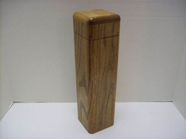 "Fireplace Match Stick Holder Solid Wood Hinged Lid Approx. 13"" Tall"
