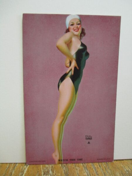 "Earl Moran Mutoscope Arcade Pin-Up Card ""Watch This One"