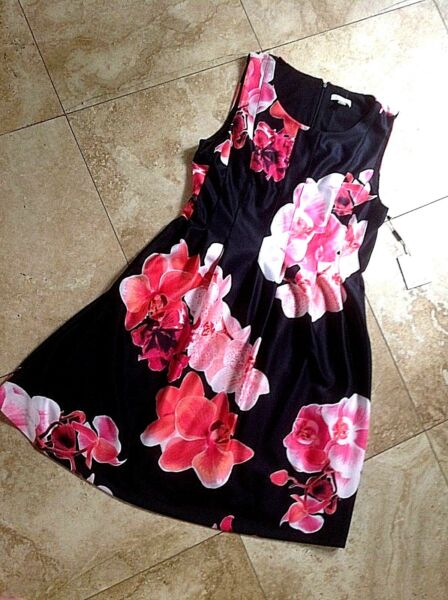 NWT SIZE 14 CALVIN KLEIN DRESS FIT&FLARE BLK CORAL MANGO PINK WHT  $134.00