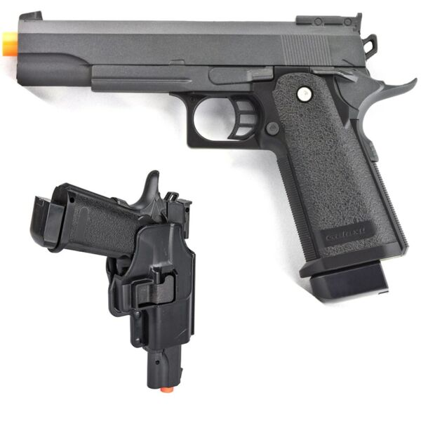 FULL SIZE METAL AIRSOFT SPRING PISTOL HAND GUN w HARD SHELL HOLSTER 6mm BB BBs