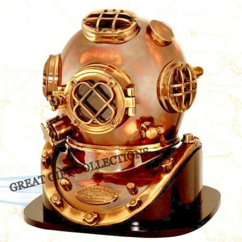 DIVING DIVERS HELMET COLLECTIBLE U.S.NAVY MARK V 1952 REPLICA WITH ROSEWOOD BASE