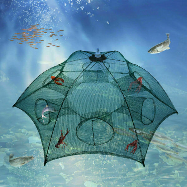 Magic Automatic Fishing Bait Trap Crab Net CrawdadShrimp Cast Cage Zipper Design $9.97