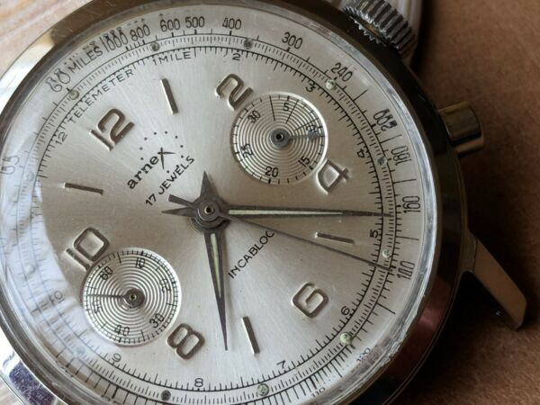 Vintage Arnex Two-Register Chronograph wSilver Satin DialDivers All SS Case