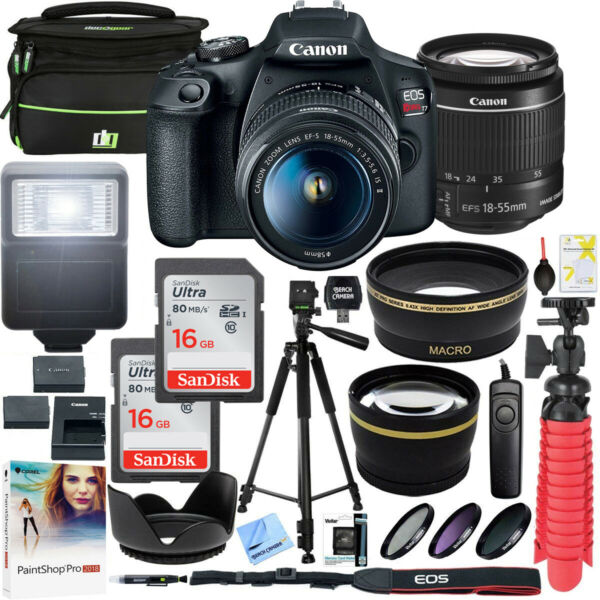 Canon T7 EOS Rebel DSLR Camera EF-S 18-55mm f/3.5-5.6 IS II Lens 16GB x2 Bundle