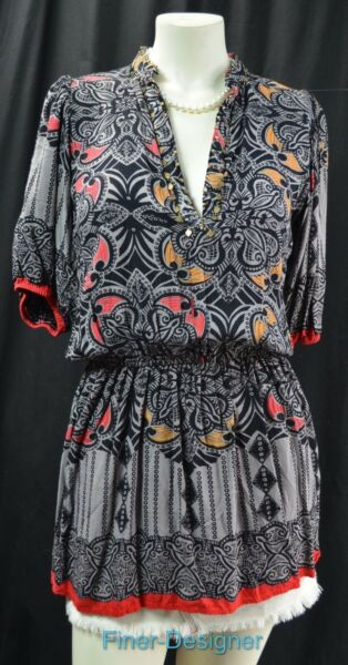 Angie Women#x27;s long peplum multi Print Top Blouse Multicolor peasant bead S NEW