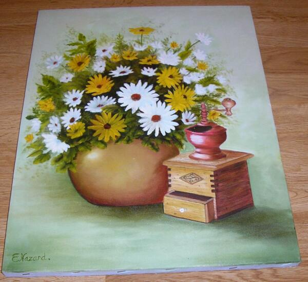 VINTAGE ANTIQUE WOOD COFFEE GRINDER GARDEN FLOWERS DAISIES STILL LIFE  PAINTING