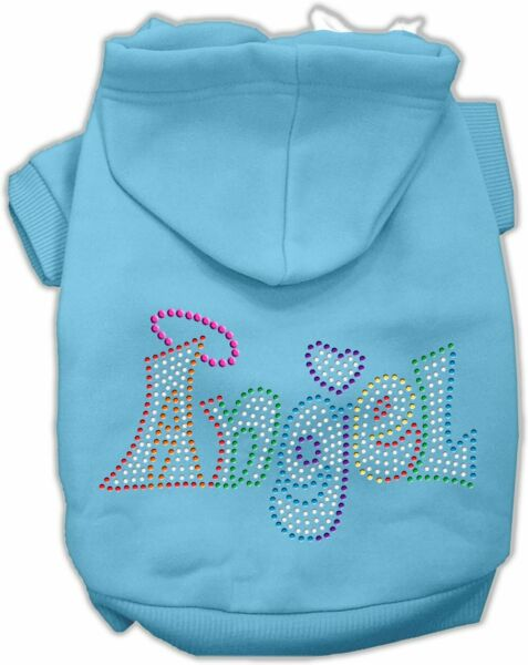 16quot; Technicolor Angel Rhinestone Pet Hoodie Dog Clothes X Large Baby Blue $6.95