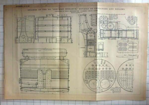 1881 Condenser And Boilers For Engines Ss Assyrian Monarch GBP 10.00