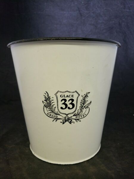 Enamel Wine Ice Bucket Rare Glace 33 Grand Hotel black rim pail made Romania (A7
