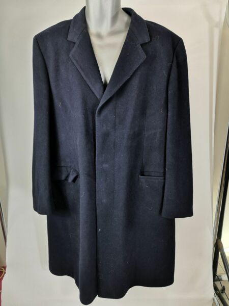 MENS ST MICHAEL NAVY BLUE BUTTON UP SINGLE BREASTED WOOL COAT JACKET L LARGE GBP 19.99