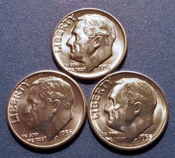 1955PDS BU Roosevelt Dimes from original rolls (lot of 3 BU silver dimes)