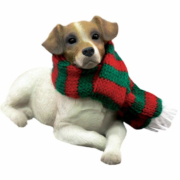 Sandicast Lying Brown Jack Russell Terrier w Scarf Christmas Dog Ornament