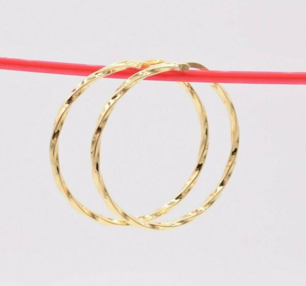 1 3 4quot; 45mm Twisted Shiny Round Hoop Earrings 14K Yellow Gold Clad Silver 925