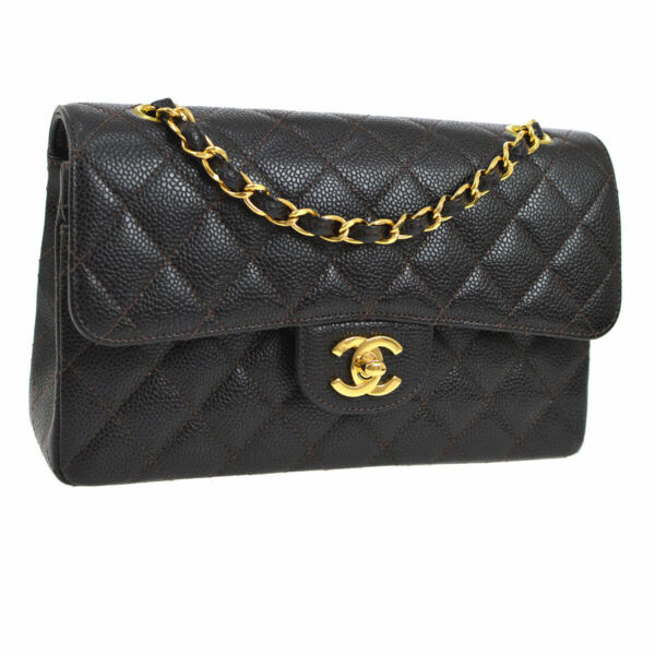 Auth CHANEL Quilted Double Flap Chain Shoulder Bag Dark Brown Caviar JT07181