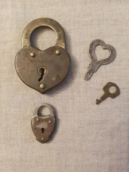Antique Vintage Heart And Shield (2) Locks One Original Key Patented 1896