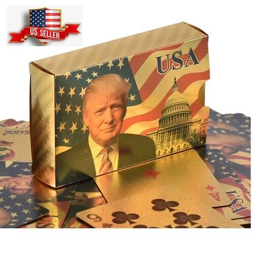 NEW Donald Trump Gold Foil Waterproof Plastic Playing Poker Deck Game Cards USA