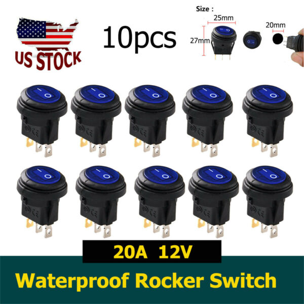 10X Blue Round Waterproof On Off Toggle Rocker Switch for Car Auto Boat 20A 12V $21.32