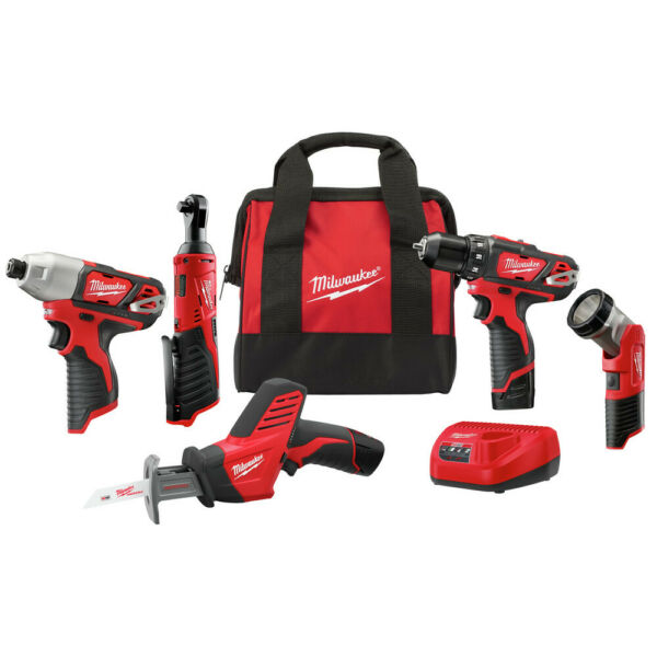 Milwaukee 2498-25 M12 Li-Ion 5-Tool Combo Kit New