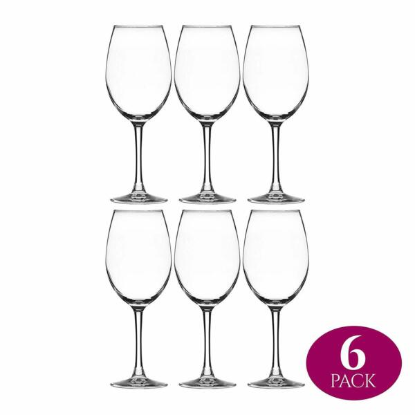 Stemmed Wine Glass Crystal Clear Classic Elongated Bowl Design Snifter - 6 Pack