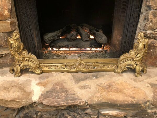 ANTIQUE FRENCH GILT BRONZE CHENET ANDIRONS FIREPLACE DECORATIONS 3 PIECE SET