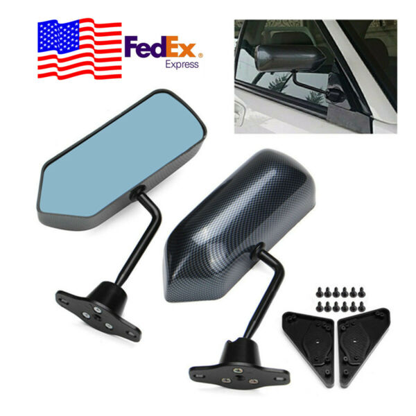 2pc Universal Car F1 Style Stylish Carbon Fiber Racing Side Rear View Mirrors US