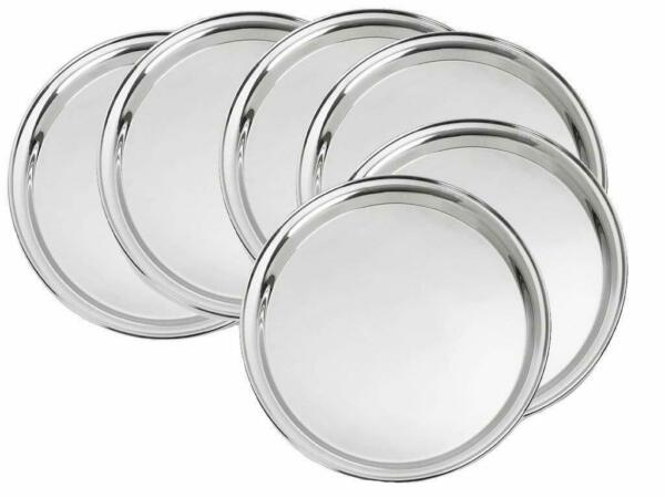 Stainless Steel Dinner Plates Table Serving Thali Dishes 13 Inch Dia 22 Gauge