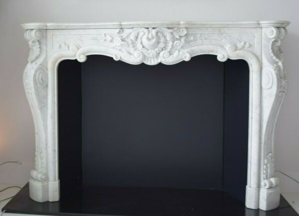 Fireplace mantle marble antique French Rococo19th century Louis XV