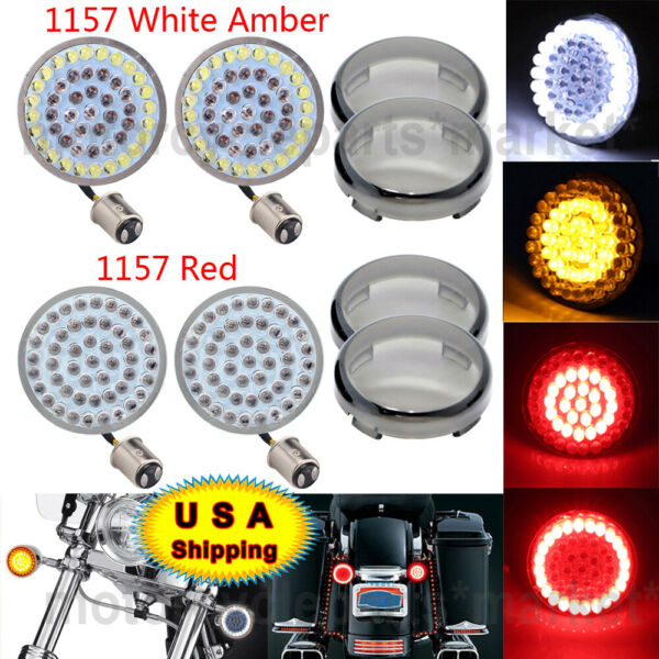 4x LED Bullet Style Turn Signals Light Inserts with Smoke Lens Fit For Harley US