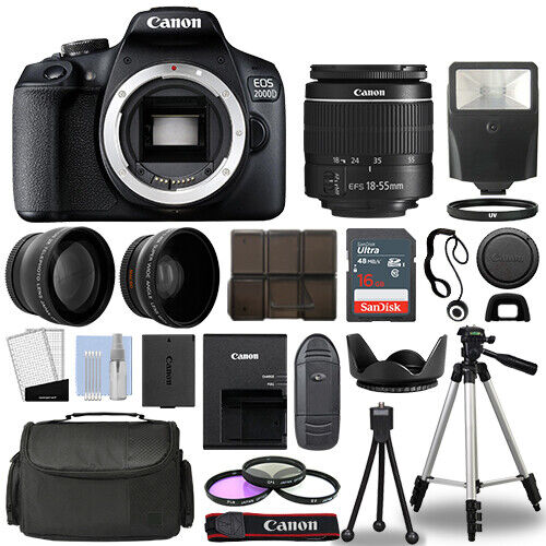 Canon EOS 2000D Rebel T7 SLR Camera 3 Lens Kit 18 55mm 16GB Flash amp; More