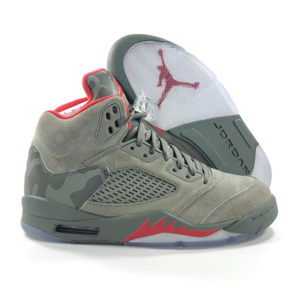 Nike Air Jordan 5 V Retro P51 Camo Dark Stucco Green Red 136027-051 Men's 7-12