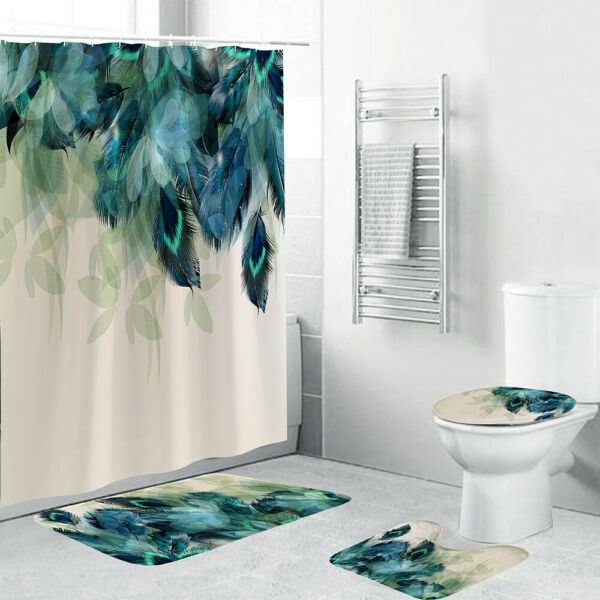 4PcsSet Anti-Slip Bathroom Toilet Rug+Lid Toilet Cover+Bath Mat+Shower Curtain