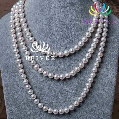 Women's 150cm Double Knotted Multi-Layer White Simulated Pearl Necklace Strand