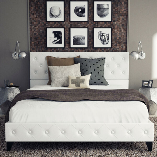 Queen Full Size PU Leather Metal Bed Frame Button Tufted Upholstered Platform