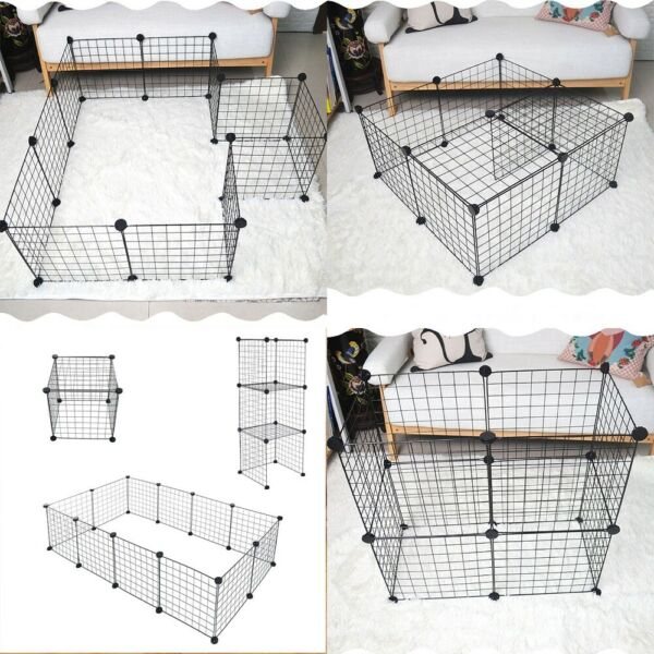 12 Panels Heavy Duty Metal Cage Pet Dog Cat Playpen Crate Fence Kennel Exercise