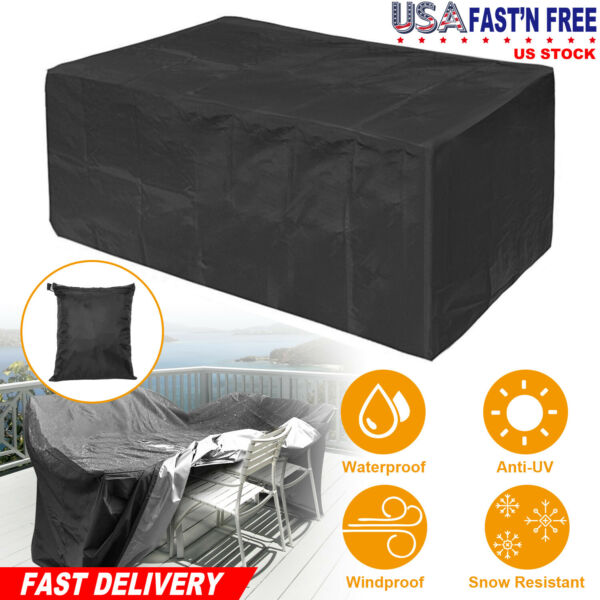 Waterproof Dustproof Patio Furniture Covers Rectangle Table Rain Cover Outdoor