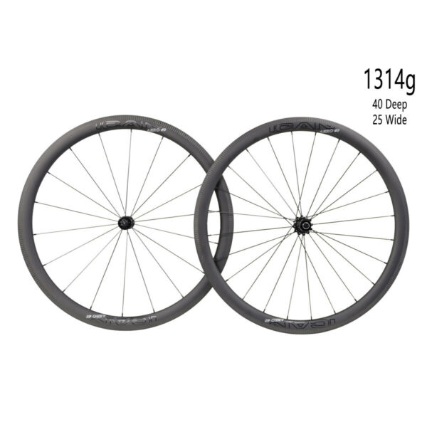 ICAN AERO 40 Carbon Road Bike Clincher Wheelset 1314g Sapim CX-Ray Spoke in USA