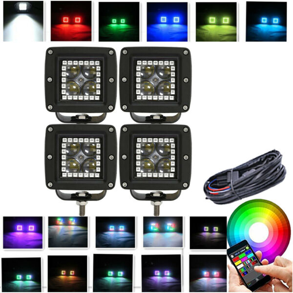 4x 3INCH Led Work Light 4D LENS 3x3 Pods with RGB Halo Ring Kit For 4X4 Boat UTE
