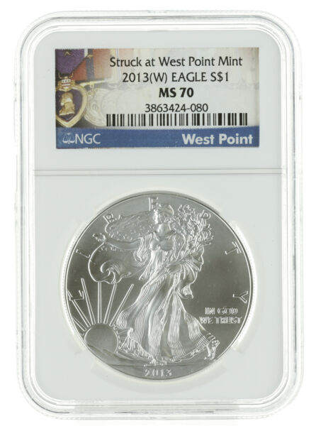 2013(W) - 1oz American Silver Eagle MS70 NGC - Struck at West Point (Heart)