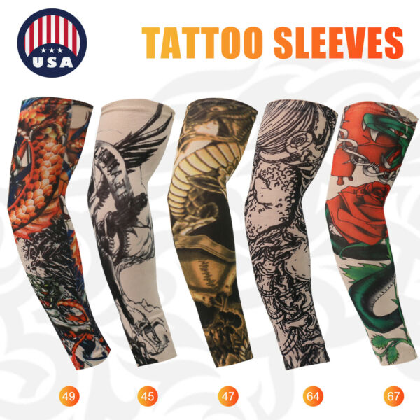 For Men Women Tattoo Cooling UV Sun Protection Arm Sleeves Golf Sports Outdoor $5.98