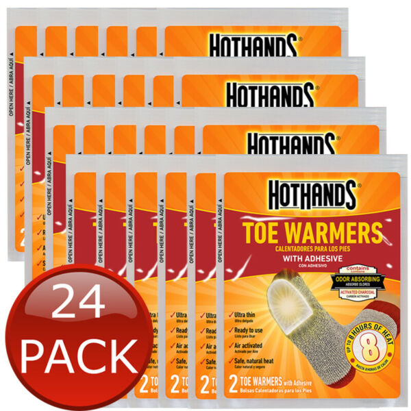 24 x HOTHANDS TOE WARMERS 2PK 8HRS HEAT HOT PACK POCKET TRAVEL HEATER 48 PIECES AU $45.95