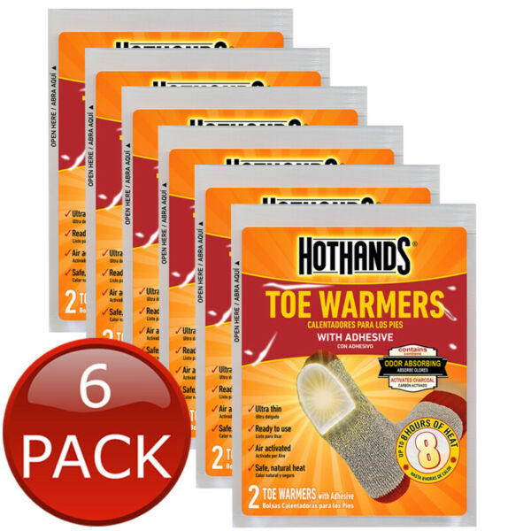 6 x HOTHANDS TOE WARMERS 2PK 8HRS HEAT HOT PACK POCKET TRAVEL HEATER 12 PIECES AU $13.45