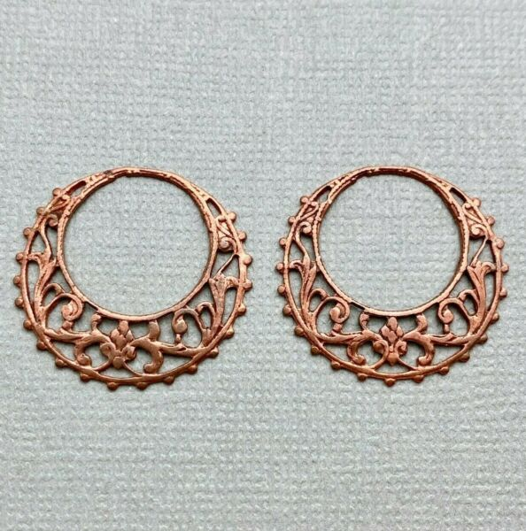 Pair Of Vintage Copper Filigree Hoop Earring Pendants