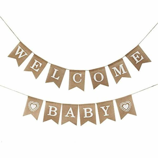 Wele Baby Burlap Banner-Vintage Party Decorations Shower Toys & Games